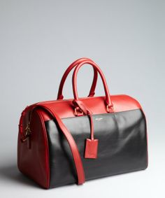 Saint Laurent black and cherry leather colorblock convertible satchel