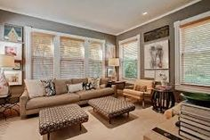 family room - cool molding around windows White Wooden Blinds, Wood Blinds, Cozy Living Rooms, Living Area, Molding Around Windows, Interior And Exterior, Interior Design, Man Room, Grey Walls