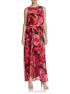 "Sleeveless Floral-Print Maxi Dress | My husband admired this dress in the store -- I'm 5'3"" so would definitely need something proportioned for a petite person! I don't know if he liked the style (hi-lo maxi) or the watercolor pattern -- could be the latter."
