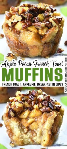 Apple Pecan French Toast Cups Apple Recipes Easy, Apple Dessert Recipes, Delicious Breakfast Recipes, Great Desserts, Brunch Recipes, Easy Dinner Recipes, Fall Recipes, Pear Recipes, Delicious Desserts