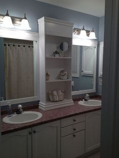 large bathroom mirror redo to double framed mirrors and cabinet, bathroom ideas, home decor, shelving ideas