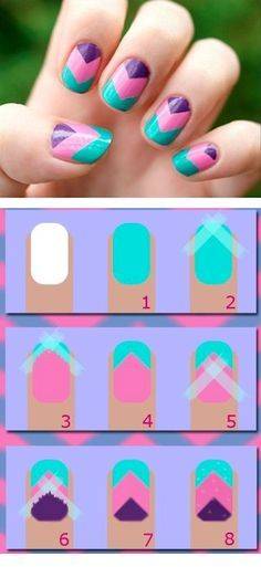 DIY Zig Zag Nails nails diy nail art nail trends diy nails diy nail art diy nail tutorial Omg i can do chevron nails now! Cute Nail Art, Nail Art Diy, Easy Nail Art, Diy Nails, Cute Nails, Manicure Ideas, Easy Kids Nails, Pedicure, Zig Zag Nails