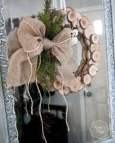 Wood Slice Rustic Wreath by ToplineDesign on Etsy