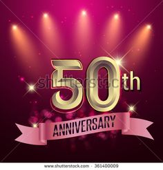 50th Anniversary, Party poster, banner or invitation - background glowing element. Vector Illustration. - stock vector