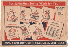 Monarch M203 Unused hot iron transfers for cross stitch. Transfers are in good vintage condition, but you should still handle them with care. Envelope is in poor condition. Age-related wear and discoloration. There are dirty/stain marks on the envelope. Tape repairs needed to the