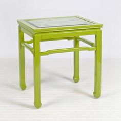 Asian Lime Green Lacquered Side Table with Beveled Glass Top Also Available with Matching