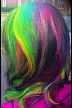 Green race rainbow dyed hair