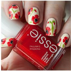 Old Fashioned Looking Nail Idea: You'll need white, light green, red, and black nail polish.