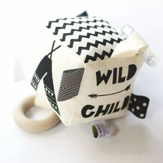 Wild Child Soft Baby Activity Rattle Teether Block Handprinted by BabeeandMe on Etsy https://www.etsy.com/listing/208516605/wild-child-soft-baby-activity-rattle