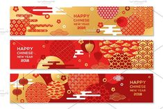 Horizontal Banners with Chinese geometric ornate shapes by kotoffei on @creativemarket
