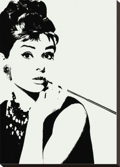 Audrey Hepburn: Cigarillo Stretched Canvas Print.  cliche but i think I need one in my life.