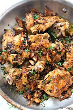 Garlic Sauce Chicken   www.diethood.com   Pan-Seared Chicken Thighs prepared with an amazing garlic sauce.