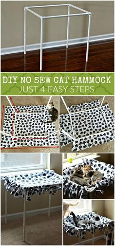 """no sew"" katzenhängematte                                                                                                                                                                                 More Diy Cat Hammock, Baby Hammock, Cat Trees, Diy Cat Tree, Catio, Ferrets, Ferret Toys, Kitten Toys, Cattery"