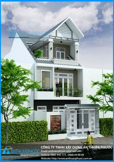 Mẫu thiết kế nhà phố đẹp mặt tiền 6m Bungalow House Design, House Front Design, House In The Woods, My House, Modern Brick House, Double Story House, Big Mansions, Indian House Plans, Narrow House