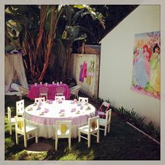 The Backyard Set Up Before Guests Arrived Disney Princess PartyParty Ideas KidsBackyardPatioTuinBackyards