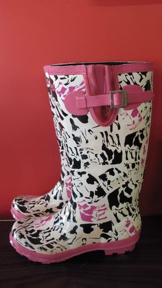 Women s Thomas Cook Cleo Cow Gumboot, Size 10