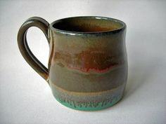 Tall Unique Stoneware Coffee Mugs | Handmade Pottery Mug Stoneware Coffee Mug by DragonPottery on Etsy