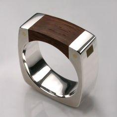 Mortice Ring in Sterling Silver & Thames Wood - Mens Rings - Designer Jewellery by Stephen Einhorn London
