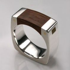 Mortice Ring in Sterling Silver & Thames Wood - Mens Rings - Designer Jewellery by Stephen Einhorn London