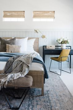 Home Bedroom, Master Bedroom, Modern Cottage, House Tours, Comforters, Throw Pillows, Blanket, Interior Design, Furniture