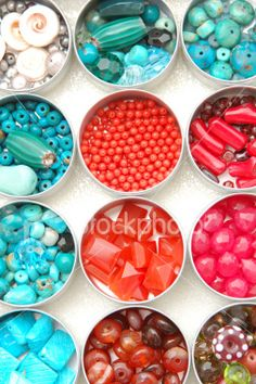 Turquoise and red bead canisters