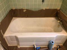 Restoring A Vintage Bathtub - Bachelorette Pad Flip Vintage Bathtub, Refinishing Kit, Tub Shower Combo, Diy Remodel, Tub Refinishing, Vintage Tub, Vintage Plumbing Fixtures, Bachelorette Pad, Restoration