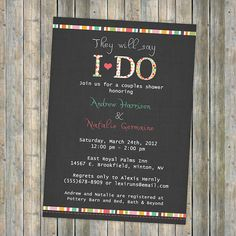 I DO couples shower wedding bridal digital by freshlysqueezedcards, $13.00