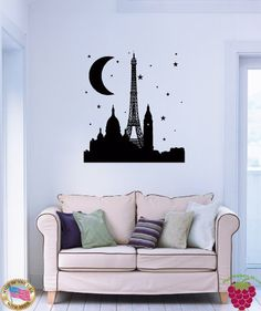 """Wall Stickers Eiffel Tower Paris Night France Decor for Bedroom z1510i TOTAL SIZE: 22"""" X 35"""" (varies by design). MADE WITH GLOSSY, HIGH GRADE REMOVABLE VINYL FILM (Matte available for Black ONLY). OTHER COLORS AVAILABLE UPON REQUEST. CAN BE APPLIED TO ANY SMOOTH OR SEMI-SMOOTH SURFACES - MIRRORS, GLASS, DOORS, FURNITURE AND WALLS. CAN BE REMOVED WITHOUT ANY STICKS BEHIND."""