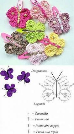 Crochet Applique Patterns Free, Crochet Flower Patterns, Crochet Diagram, Crochet Chart, Crochet Motif, Crochet Flowers, Crochet Bows, Crochet Butterfly, Crochet Gifts