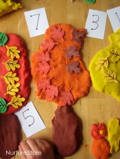 How do you help your kids learn math facts? Here are some great ideas for hands-on, sensory learning: fall play dough math games! Playdough Activities, Autumn Activities For Kids, Fall Preschool, Fun Crafts For Kids, Homeschool Math, Homeschooling, Play Dough, Autumn Theme, Math Games