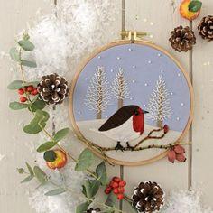 Fabriquer un tableau d'hiver dans un cercle à broder / Embroidered winter picture