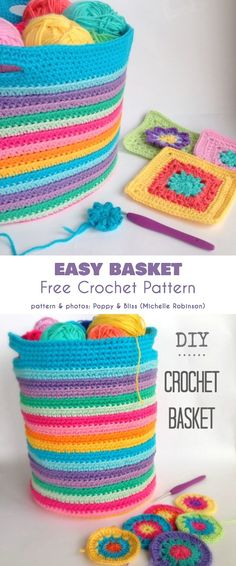 Crochet basket 493636809156649183 - Easy Basket Free Crochet Pattern Source by aflamine Diy Crochet Basket, Crochet Basket Pattern, Easy Crochet Patterns, Crochet Patterns Amigurumi, Crochet Home, Crochet Crafts, Crochet Yarn, Crochet Stitches, Crochet Projects