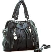 Soft fashion satchel bag with zipper / tassel accents - FREE SHIPPING $40.00