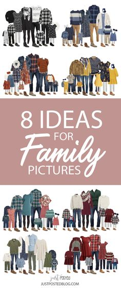 Need help finding what to wear for Family Picture ideas? Here are 8 family photo looks that are perfect for fall or for Christmas family pictures! Each look features items for all ages. These looks would be perfect for a family Christmas Card too! Fall Family Picture Outfits, Winter Family Pictures, Family Picture Colors, Family Portrait Outfits, Family Photos What To Wear, Large Family Photos, Outdoor Family Photos, Picture Ideas, Photo Ideas