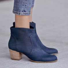 Bestselling Romy bootie in Washed Navy | Sole Society