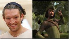 "Vincent Cassel – Robin Hood (""Shrek"") Vincent Cassel, Eddie Murphy, Cameron Diaz, Cartoon Movies, Shrek, Voice Actor, Magical Creatures, Cool Cartoons, Robin"