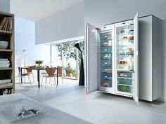 You can combine two refrigerators or built-under wine conditioners next to each other or have a classical combination of side-by-side refrigerator and freezer. The choice is yours with #miele #refrigeration