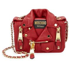 Moschino Biker Jacket Leather Mini Bag ($1,150) ❤ liked on Polyvore featuring bags, handbags, shoulder bags, red shoulder bag, red leather handbags, handbag purse, man leather shoulder bag and leather hand bags