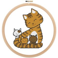 Cross Stitch Pattern - Kittens - Baby Cats with Mama Cat - Cute Kitty Pattern - PDF - Instant Download