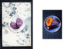 purple cabbage on handmade porcelain plate made by Fenek Studio www.fenek.info