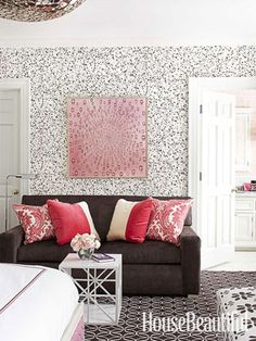 Cute use of black, white, red and pink!!!  --- Girl's Room with Personality