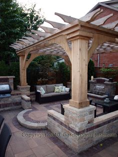 Pergola with Braces Installed