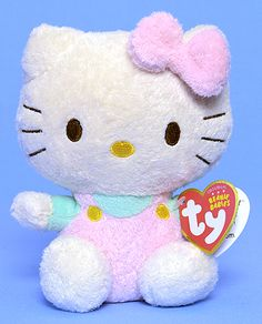 Hello Kitty (pink jumper, mint shirt) - cat - Ty Beanie Babies