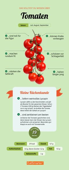 Das sind die wichtigsten Fakten über Tomaten | eatsmarter.de #tomate #tomaten #ernährung #infografik #gesund #gesundernähren #gesundessen