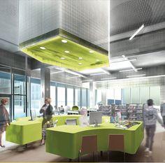 Vue intérieure de la future médiathèque de Millau.