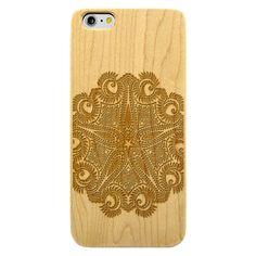 Tribal Star Mandala- Laser Engraved Wood Phone Case (Maple,Cherry,Black,Cork)