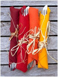 Don't skip out on colour for your Thanksgiving table! Use our Fall Acrylic Felt Value Pack and wrap utensils with them to make a unique cutlery holder. The possibilities are endless!