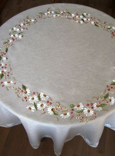 Items similar to Round linen tablecloth diameter 150 сm, white,laced linen, technology embroidery - stitch on Etsy Floral Embroidery Patterns, Hand Embroidery Flowers, Silk Ribbon Embroidery, Hand Embroidery Designs, Diy Embroidery, Border Embroidery, Hardanger Embroidery, Hand Embroidery Videos, Hand Embroidery Stitches