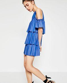 Image 5 of FRILLED DENIM DRESS from Zara