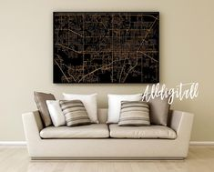 Gainesville map print Florida poster USA city maps modern wall art Gainesville city poster art black gold street map american travel poster